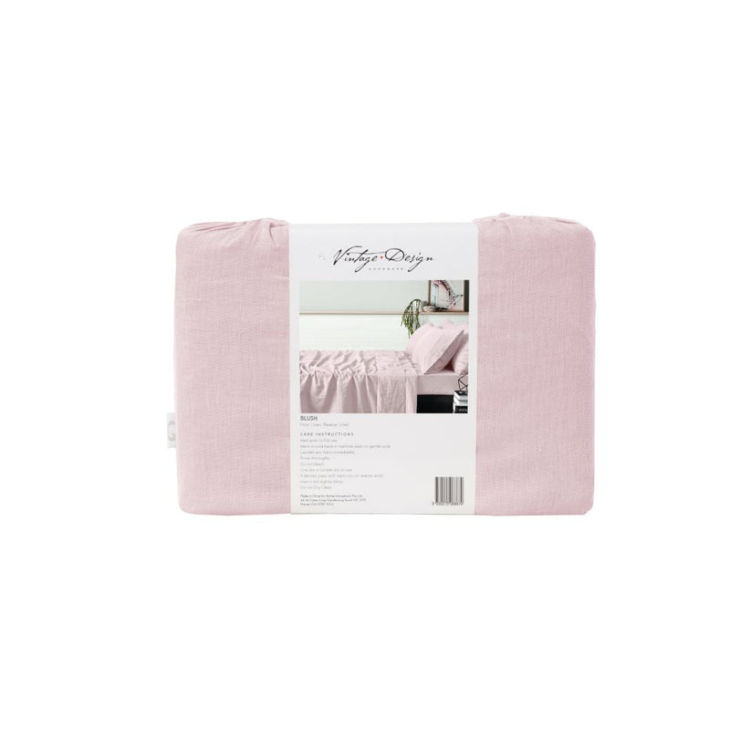 Vintage Design Blush 100% Linen Sheet Set