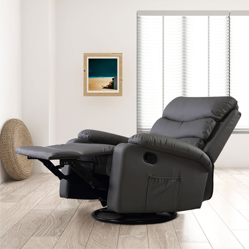 Massage Chair Recliner Chairs Heated Lounge Sofa Armchair 360 Swivel Grey