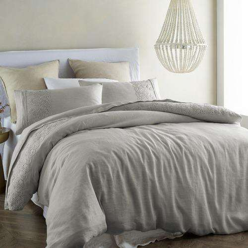 Vintage Design Embroidered Grey 100% Quilt Cover Set