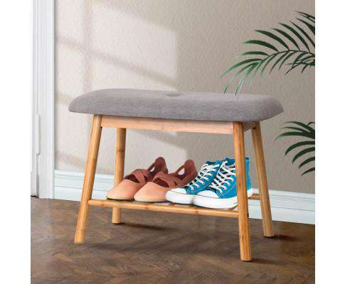 Artiss Shoe Rack Seat Bench Chair Shelf Organisers Bamboo Grey
