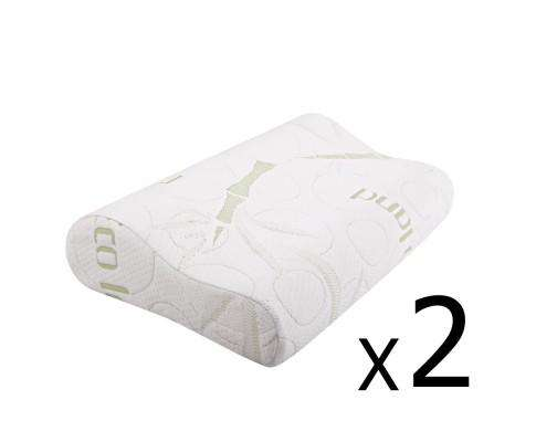 Set of 2 Bamboo Pillow with Memory Foam