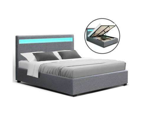 Artiss LED Fabric Bed Frame Gas Lift Base With Storage - Grey