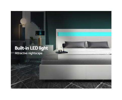 Artiss LED Leather Bed Frame Gas Lift Base With Storage - White