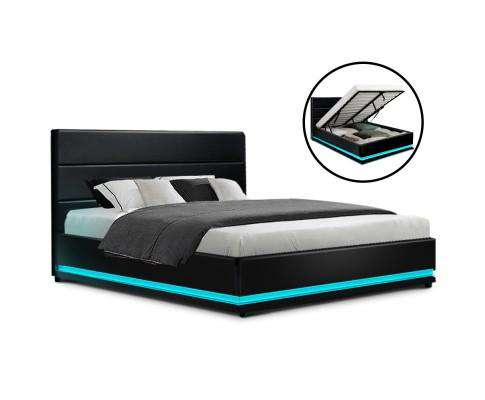 RGB LED Bed Frame Gas Lift Base Storage Black Leather LUMI