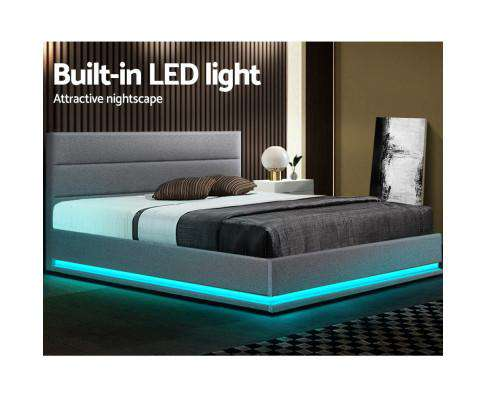 RGB LED Bed Frame Queen Size Gas Lift Base With Storage Grey Fabric LUMI