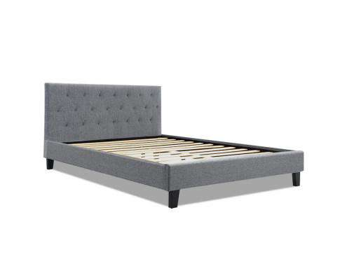 Artiss VANKE Bed Frame Base Fabric Headboard Wooden Mattress