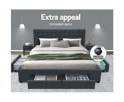 Artiss Fabric Bed Frame Headboard with Drawers - Charcoal