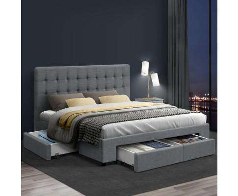 Artiss Bed Frame with 4 Storage Drawers AVIO Fabric Headboard Wooden - Grey
