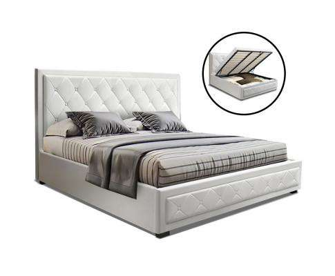 Artiss TIYO Gas Lift Bed Frame Base With Storage Mattress PU Leather - White