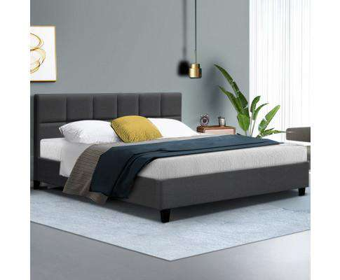 Bed Frame Platform Fabric Wooden Charcoal TINO