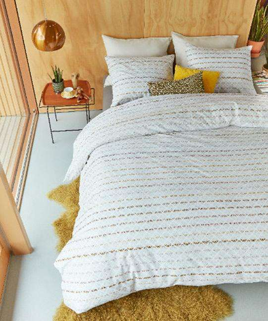 Bedding House Wooven Lines Yellow Quilt Cover Set
