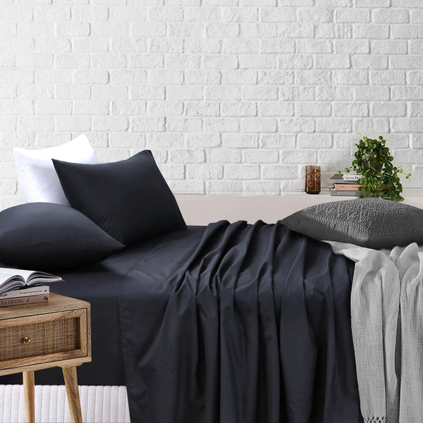 Amsons Black Bedsheets Set- Flat & Fitted Sheets With Pillowcases