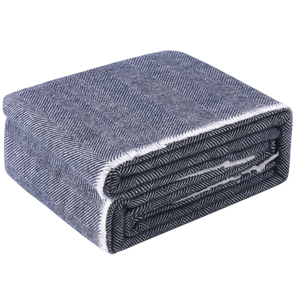 Accessorize Blue Herringbone Wool Blanket