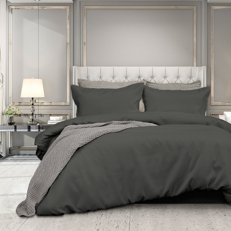 Ardor FLORENCE WAFFLE QUILT COVER SET - Charcoal