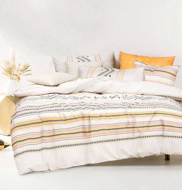 Amsons Charlotte Pure Cotton Duvet Doona Quilt Cover Set – Peach, Yellow, Cream Black