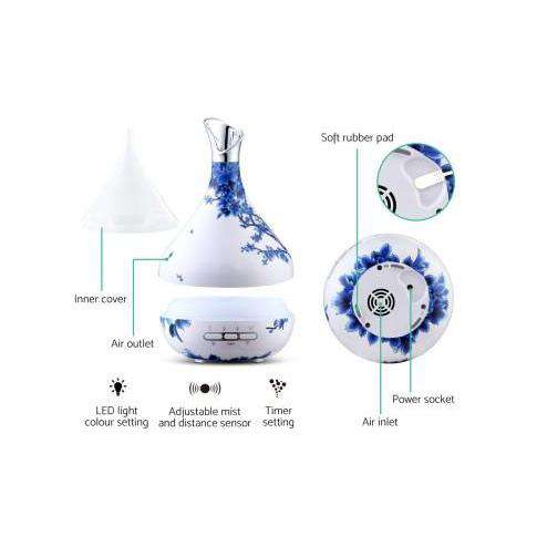 DEVANTI Aroma Diffuser Aromatherapy LED Night Light Air Humidifier Purifier Blue & White Porcelain Pattern 300ml-Devanti-Blue & White Porcelain-Big Bedding Australia