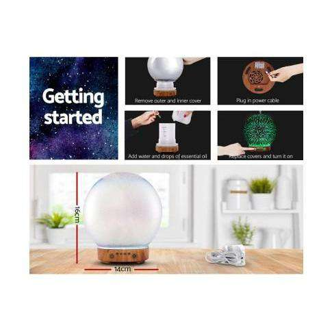 Devanti Aromatherapy Diffuser Aroma Humidifier Ultrasonic 3D Round Firework Light Oil-Devanti-Lightwood-Big Bedding Australia