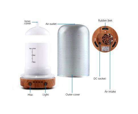 Devanti Aromatherapy Diffuser Aroma Humidifier Ultrasonic 3D Light Essential Oil