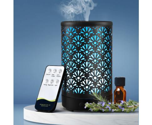 Aroma Diffuser Aromatherapy Essential Oils Metal Cover Ultrasonic Cool Mist 100ml Remote Control Black