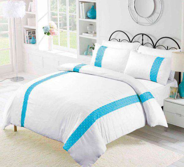 Amsons Emilia Turquoise Embroidery Quilt Cover Set