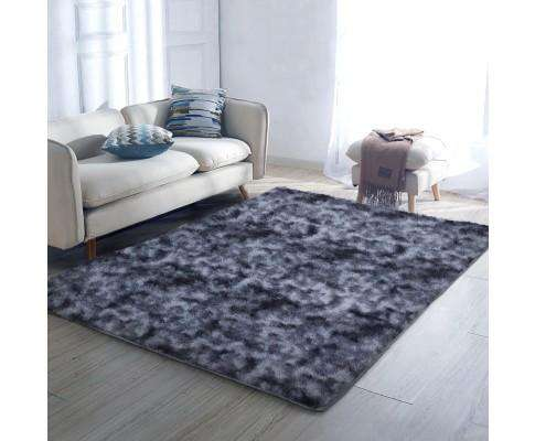 Artiss Gradient Shaggy Rug Carpet Area Rugs Dark Grey