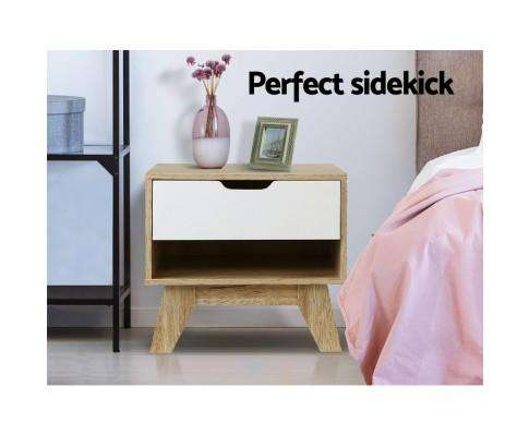 Artiss Bedside Table White Wooden