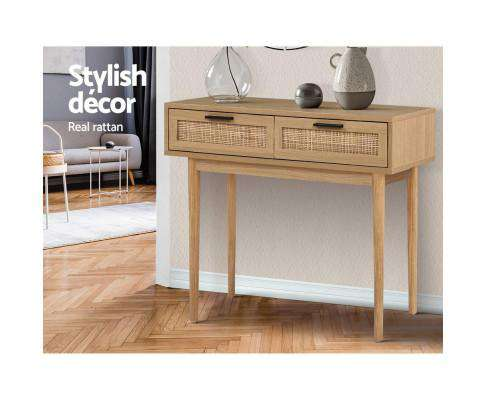 Rattan Console Table Drawer Storage Hallway Tables Drawers