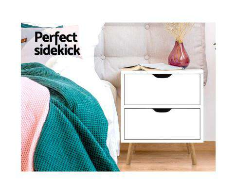Bedside Tables Drawers Side Table Nightstand White Storage Cabinet Wood