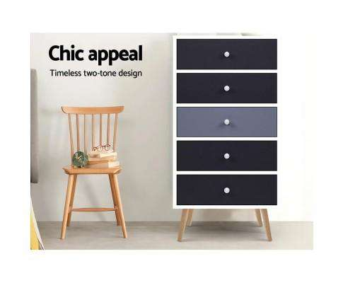 Artiss Five Chest of Drawers - Black