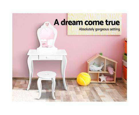 Artiss Keezi Kids Vanity Dressing Table Stool Set Mirror Drawer Children Makeup White