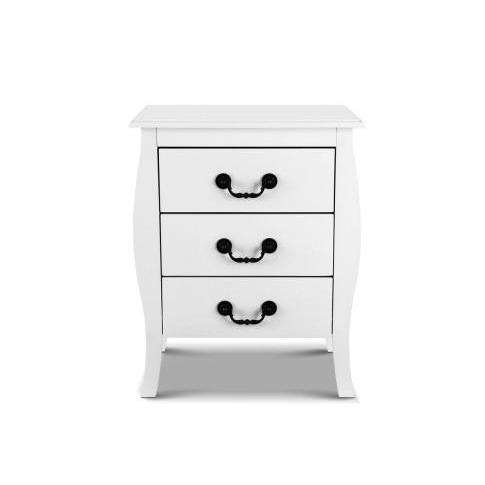 Artiss White Bedside Tables 3 drawers-Artiss-Big Bedding Australia