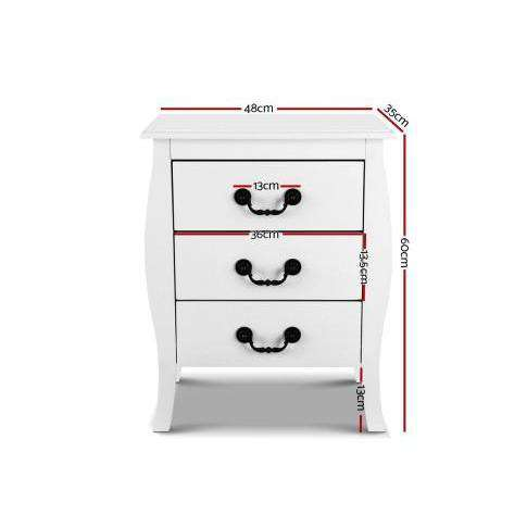 Artiss White Bedside Tables 3 drawers