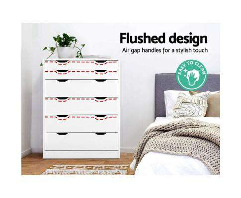 Six Chest of Drawers Neat White