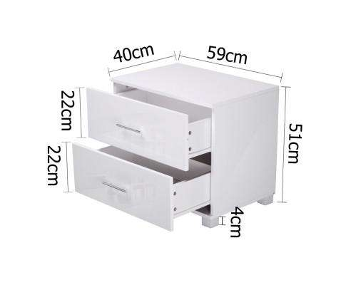 Artiss Classic High Gloss White Bedside Table