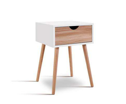 Artiss Bedside Tables Drawers Side Table Storage Cabinet Nightstand Solid Wood Legs Bedroom White