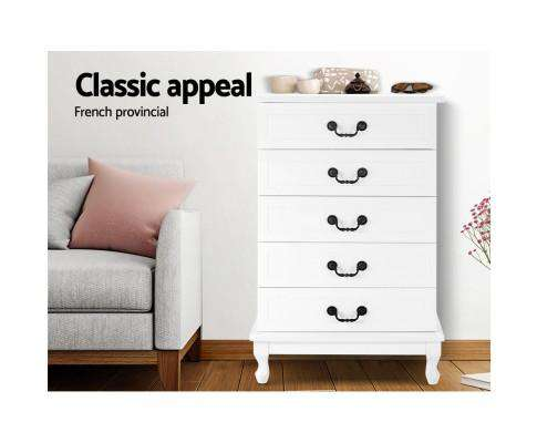 Five Chest of Drawers Organiser -White