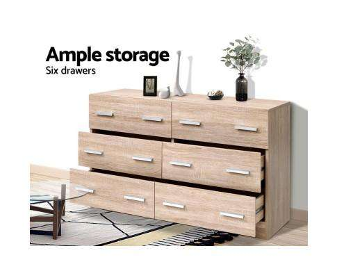 Artiss Six Chest of Drawer - Wood