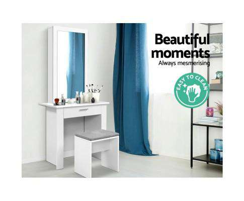 Dressing Table Mirror Stool Mirror Jewellery Cabinet Makeup Storage Desk