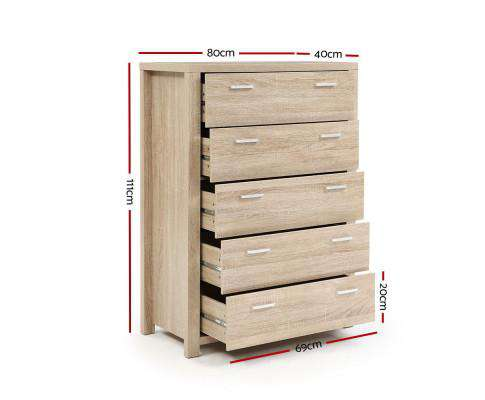 5 Chest of Drawers Tallboy Dresser Table Bedroom Storage Cabinet
