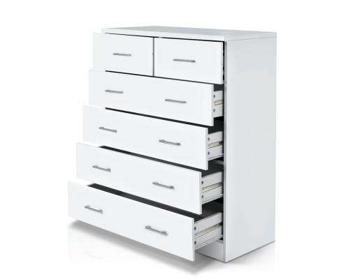 Artiss Six Chest of Drawers - White