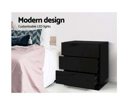 Bedside Tables Side Table RGB LED Lamp 2 Drawers Nightstand Gloss Black