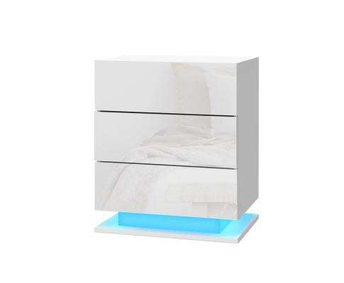 Artiss Bedside Tables Side Table RGB LED Lamp 2 Drawers Nightstand Gloss White
