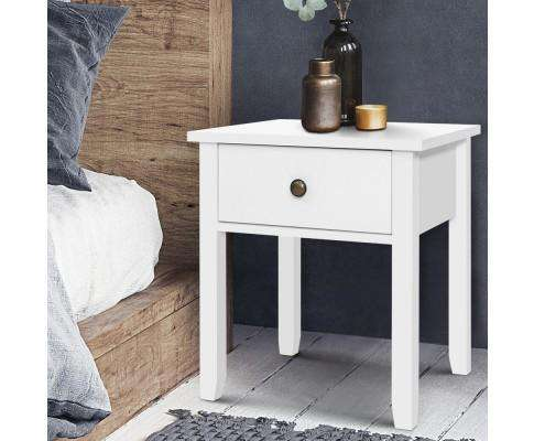 Drawer Bedside Table - White
