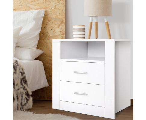 Anti-Scratch Bedside Table 2 Drawers - White