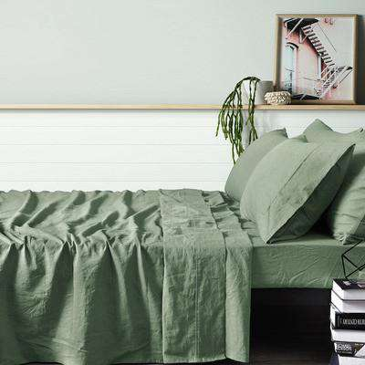 Vintage Design Fog Green Vintage Style 100% Linen Sheet Set
