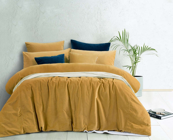 Vintage Design Gold Harmony Cotton Velvet Quilt Cover Set