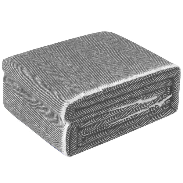Accessorize Grey Herringbone Wool Blanket
