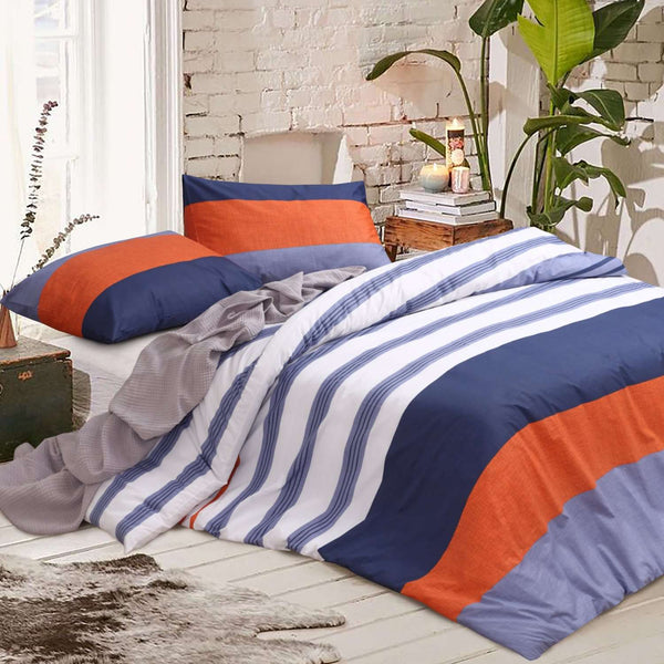 Amsons Kara Pure Cotton Quilt Doona Duvet Cover Set – White, Blue, Rust