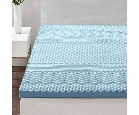 Giselle Bedding Cool Gel Memory Foam Mattress Topper Bamboo Cover 5CM 7-Zone