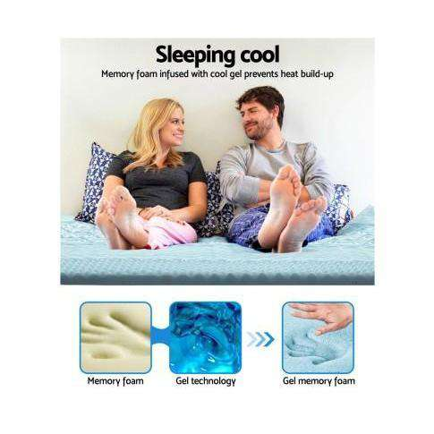 Giselle Cool Gel Bamboo Cover Memory Foam Mattress Topper- 8CM 7 Zone-Mattress Topper-Giselle-Big Bedding Australia